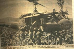 Photo of my helicopter in the newspaper for the U.S. troops in Viet Nam.