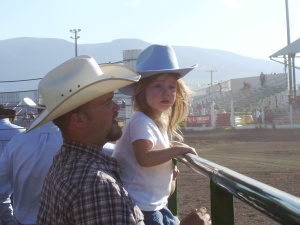 Cody & Ella at the barrel racing starting gate.