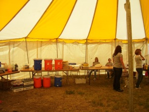 The work team from Virginia preparing to feed the cowboys and cowgirls.